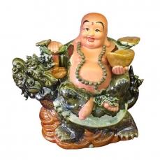 tượng gốm sứ bát tràng tượng phật di lặc cưỡi long quy men xanh ngọc gốm sứ bát tràng 360