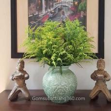 Lọ Hoa Dáng Vò Tròn Khắc Nổi Hoa Phù Dung