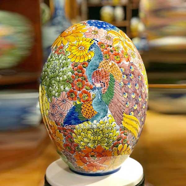 Trứng Phong Thuỷ Vẽ Công Hoa Men Khử Cao Cấp
